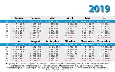 Kalender 2019 Visitenkartenformat Vorlage blau