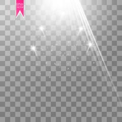 Vector white transparent energy spotlight scene with lightning background. Abstract light effect power modern design