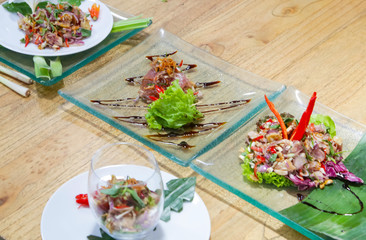 Various meals on the table, creative restaurant meal concept,