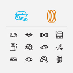 Service icons set. Gas station and service icons with car repair, car race and car rent. Set of entry for web app logo UI design.