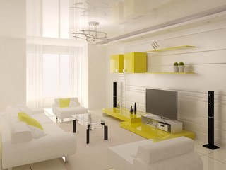 Bright spacious living room with bright stylish furniture and a light background.