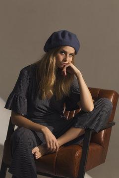 Cool girl in the studio sad