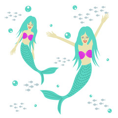 twin cute mermaid cartoon vector illustration, fantasy sea theme