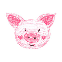 children's illustration. Pencil drawing of a pink pig.