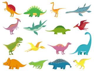 Adorable smiling dinosaurs. Cute baby stegosaurus dinosaur. Prehistoric cartoon animals of jurassic era isolated vector set