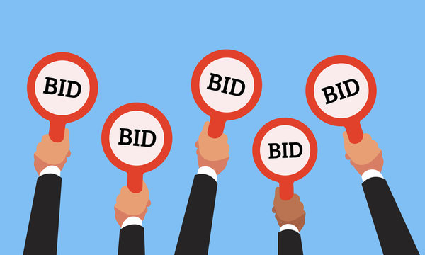 Buyers hands raising auction bid paddles with numbers of competitive price. Auction business bidders raise hand vector concept