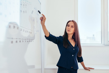 Business woman pointing to a whiteboard showing presentation