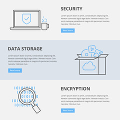 Vector web banners: security, data storage, encryption