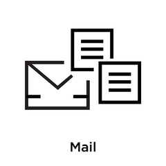 Mail icon vector sign and symbol isolated on white background, Mail logo concept