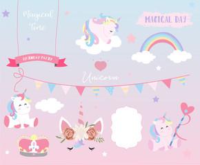 Hand drawn element with sleep unicorn,heart,flag,rainbow,cloud,star and crown