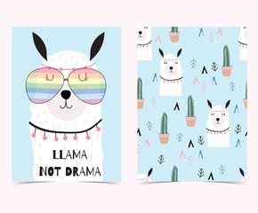 Hand drawn cute card with cactus, llama not drama