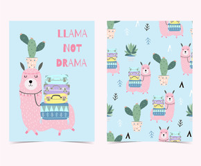 Hand drawn cute card with cactus, llama not drama