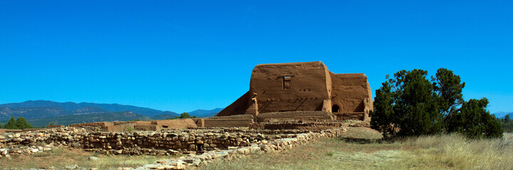 Pecos National Historical Park in New Mexico protects and preserves the ancient Pecos Pueblo and this Spanish mission church, destroyed in the Indian revolt of 1680 and partially rebuilt in 1717