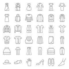 Female clothes, bag, shoes and accessories thin outline icon set 3