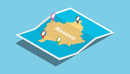 kosovo explore maps with isometric style and pin location tag on top