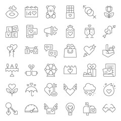 valentine and romance elements, line icon such as ferris wheel, arrow and heart, dinner, kissing mouth, chemistry of love, fire of love, wedding ring, chocolate