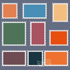 Blank postage stamps template set on dark background. Rectangle and square postage stamps for envelopes, postcards. Vector illustration.
