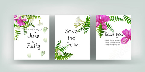 Wedding vector floral invite invitation thank you, pink and white  flower and green leaves
