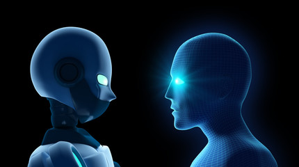 Human fights robot on black. Artificial intelligence in futuristic technology concept. 3d illustration