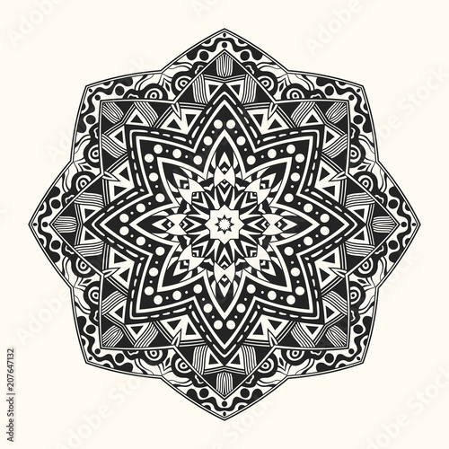 vector zentangle template round ornament stock image and royalty