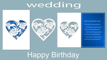 The inscription-happy birthday, wedding. Rose. Card heart flowers and space for text. Laser cutting template for greeting cards, invitations, decorative elements. Vector