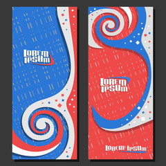 Vector vertical futuristic Banners, 2 layouts for design flyers with spiral abstract pattern and copy space for advertising text, mockup templates with blue and red waves background for presentation.