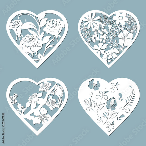 Set Stencil Hearts With Flower Rose Template For Interior
