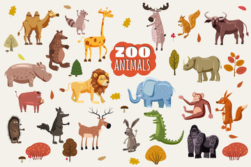 Big set of wild animals cartoon vectors. African, Australian, Asian, South and North American fauna predators and herbivorous species. Cartoon style, isolated