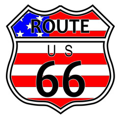Route 66 Highway Sign With Flag