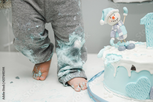 Kids Feet Near The Cake Cute Little Boy Eating His First Birthday Baby Smash 1 Year Old Winter With A Snowman