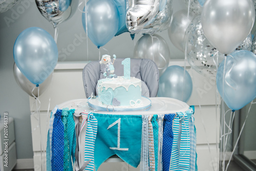 Colorful Decoration Of A First Year Birthday Cake Baby Smash For 1 Old Boy Lot Balls And Party In Blue