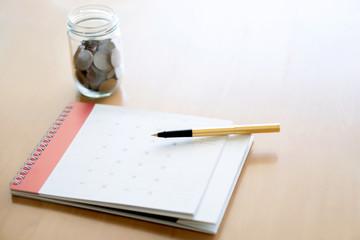Money coins stack, calendar,