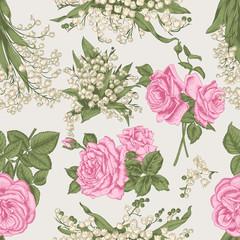 Цветы. Векторный бесшовный фон с растительным рисунком. Винтажная тема. Розы и ландыши.