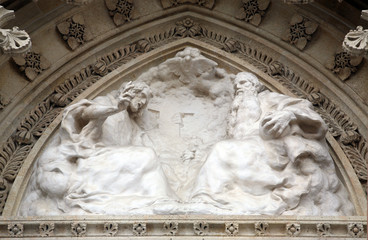 Holy Trinity on the portal of the cathedral dedicated to the Assumption of Mary in Zagreb, Croatia