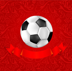 Red football background with soccer ball and satin ribbon.