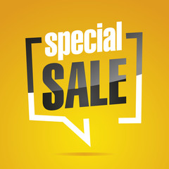 Special sale in brackets yellow white black isolated sticker icon