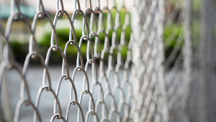Steel fence close up