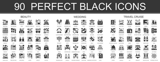 90 beauty, wedding, travel cruise classic black mini concept symbols. Vector modern icon pictogram illustrations set.