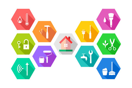 Facility management concept with house and related working tools in colorful flat design. Icon set in hexagon shape.