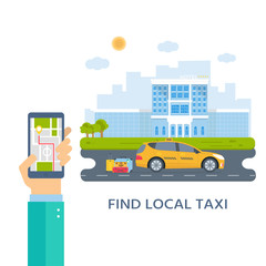 Banner with the machine yellow cab in the city. Hand holding phone with taxi service mobile app .