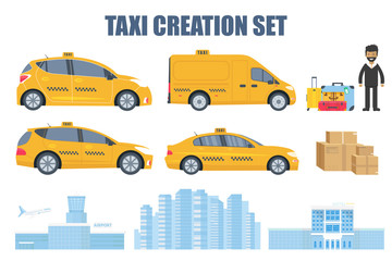 Taxi creation set with different type of machine yellow cab, driver, baggage, package, building of airport, city and hotel