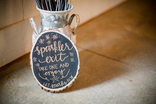 Sparkler decorations at Wedding