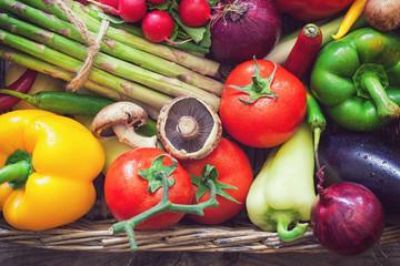 Basket full of healthy seasonal vegetables