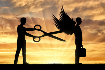 A man with big scissors in his hands intends to cut off the wings of the man in front of him