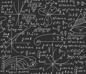 "Mathematical educational vector seamless pattern with handwritten formulas, equations, and calculations, ""handwritings on chalkboard"" effect"