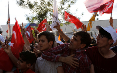 Supporters of Turkish President Tayyip Erdogan react during an election rally in Diyarbakir