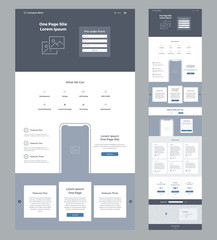 One page website design template for business. Landing page wireframe. Flat modern responsive design. Ux ui website: home, features, offers, order, testimonials, prices, questions, contacts, form, map