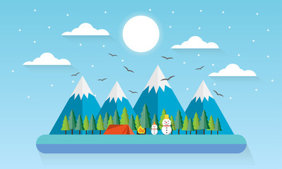 Travel Winter Mountain Forest Landscape, Snowman and Pine Trees Woods with camping Flat Vector Illustration
