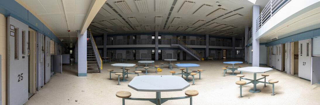 Abandoned prison cellblock
