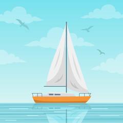 Sailboat vector illustration. Small boat with a sail, sailing ship on the sea. Flat style image